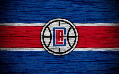 4k, Los Angeles Clippers, NBA, wooden texture, LA Clippers, basketball, Western Conference, USA, emblem, basketball club, Los Angeles Clippers logo