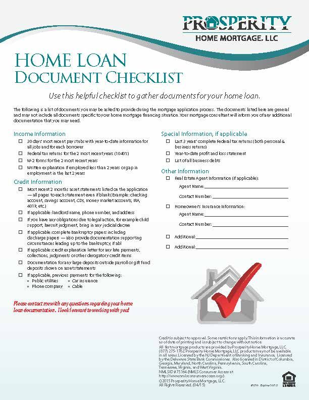 Home Loan Document Checklist Prosperity Home Mortgage Llc Home Mortgage Home Loans Mortgage Loans