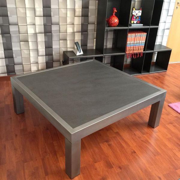 Table basse acier brossé avec plateau céramique | table basse design ...