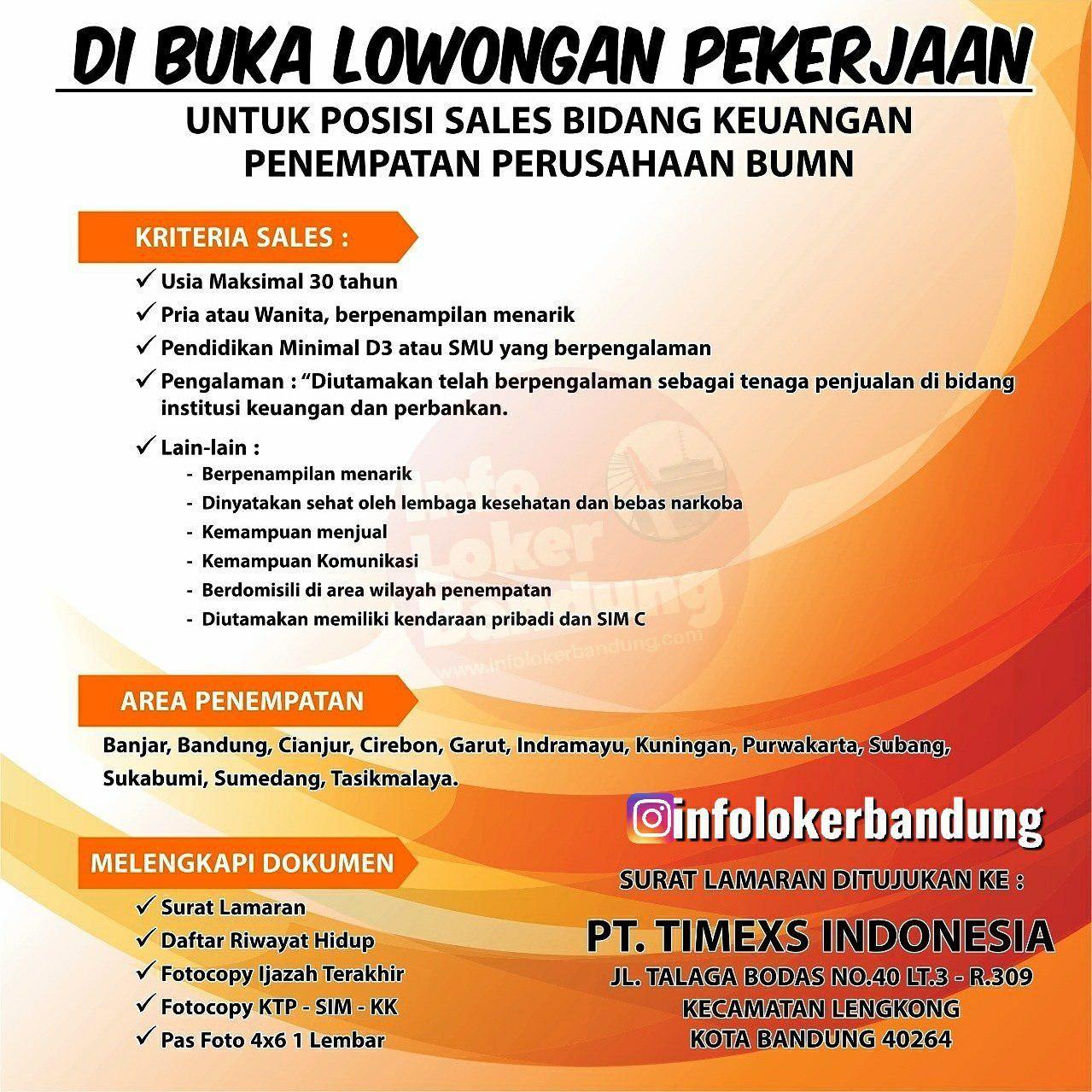 Lowongan Kerja Pt Timexs Indonesia Bandung Oktober 2019 Infolokerbandung Com Kerja Indonesia Brosur