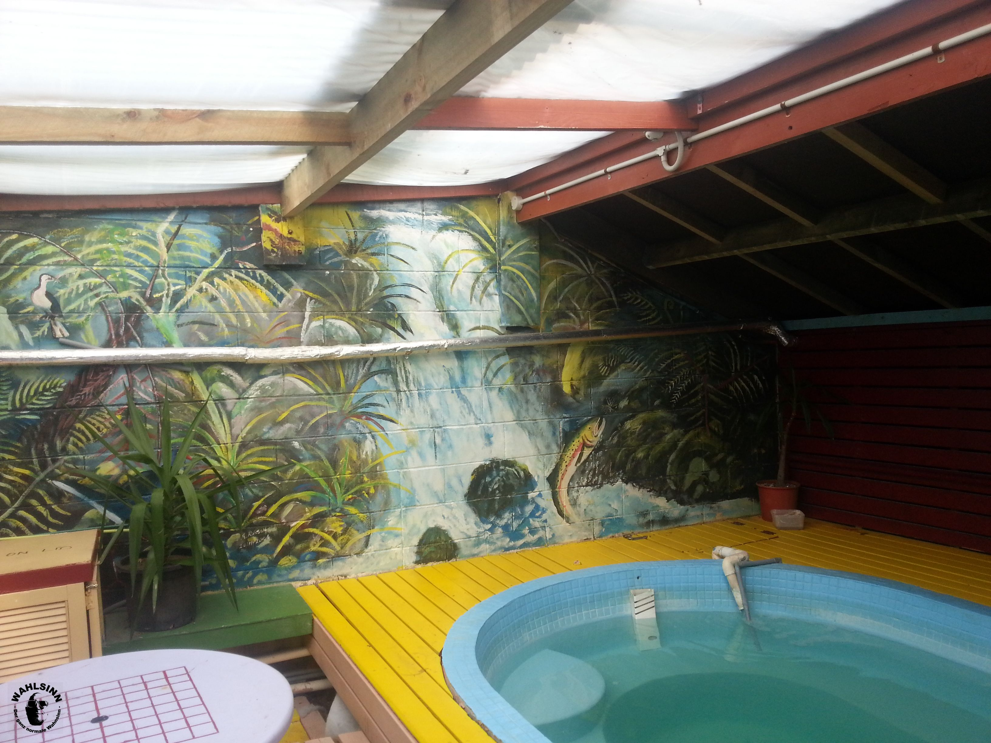 Ein Whirlpool im Cactus Jack Hostel (Rotorua / Neuseeland)