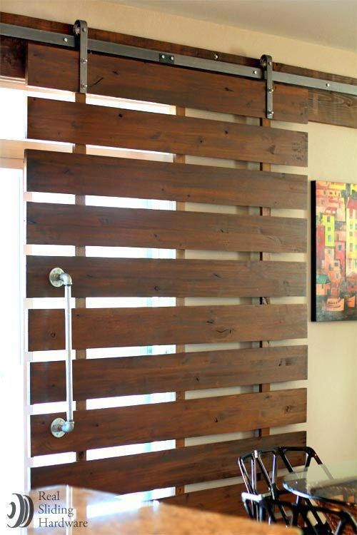 Bamboo Sliding Panel Track Blinds: Outdoor Barn Door Track System