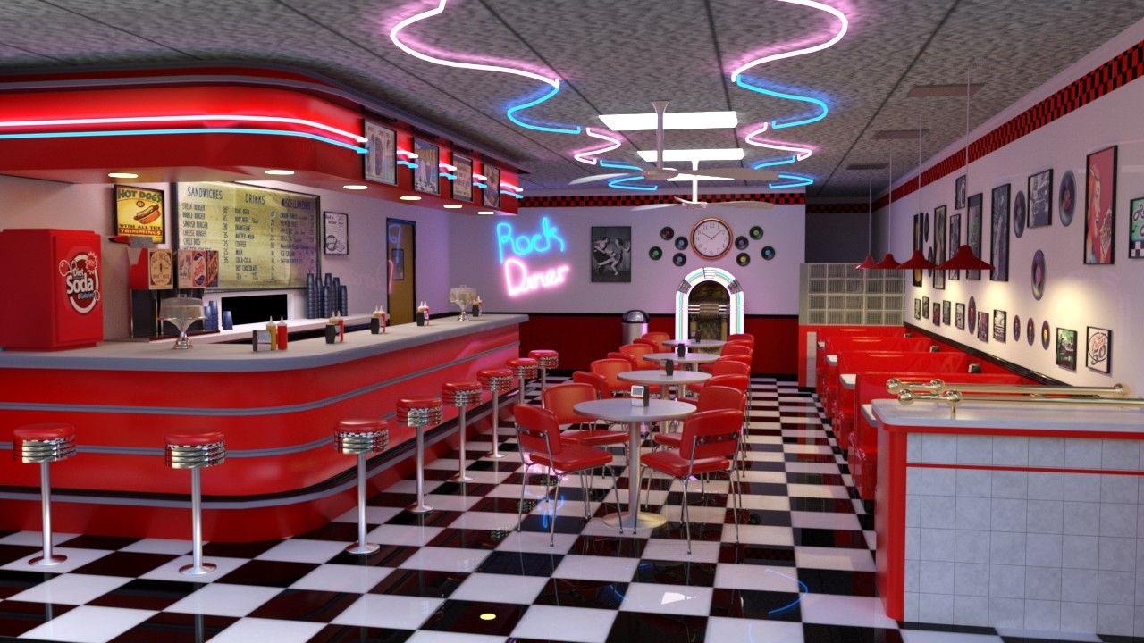 Retro American Diner (3D Modelled) | tabby | 50s diner ...  Retro American ...