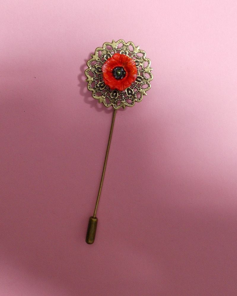 Red Field Poppy Pin On Bronze Tone Filigree Flower Remembrance Lapel