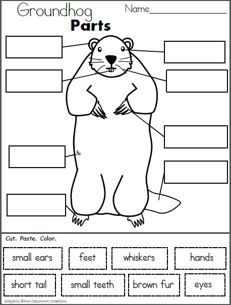 Free Groundhog Parts Worksheet Groundhog S Day