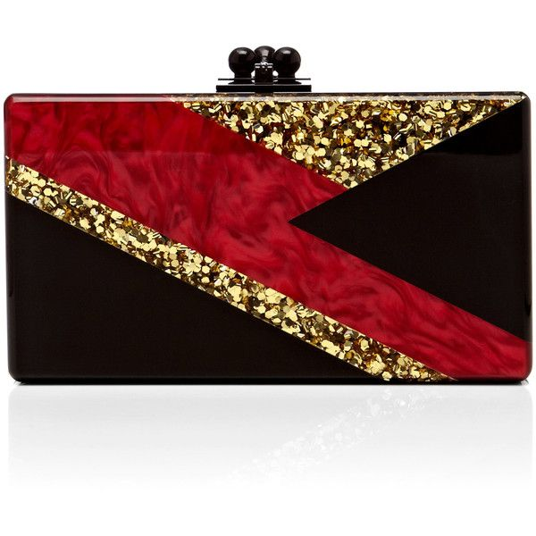 Edie Parker Black Acrylic Jean Clutch With Red Pearlescent And Gold...  ( 1 d78b1986d343