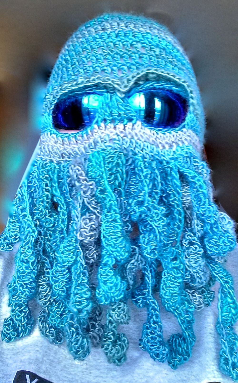 My version of a Cthulhu mask. Get the FREE crochet pattern on Ravelry