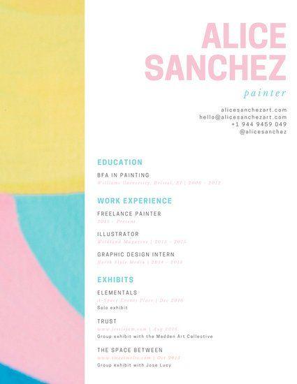 Painter Resume Paster Painter Artist Creative Resume  Bujo & Calendar  Pinterest .