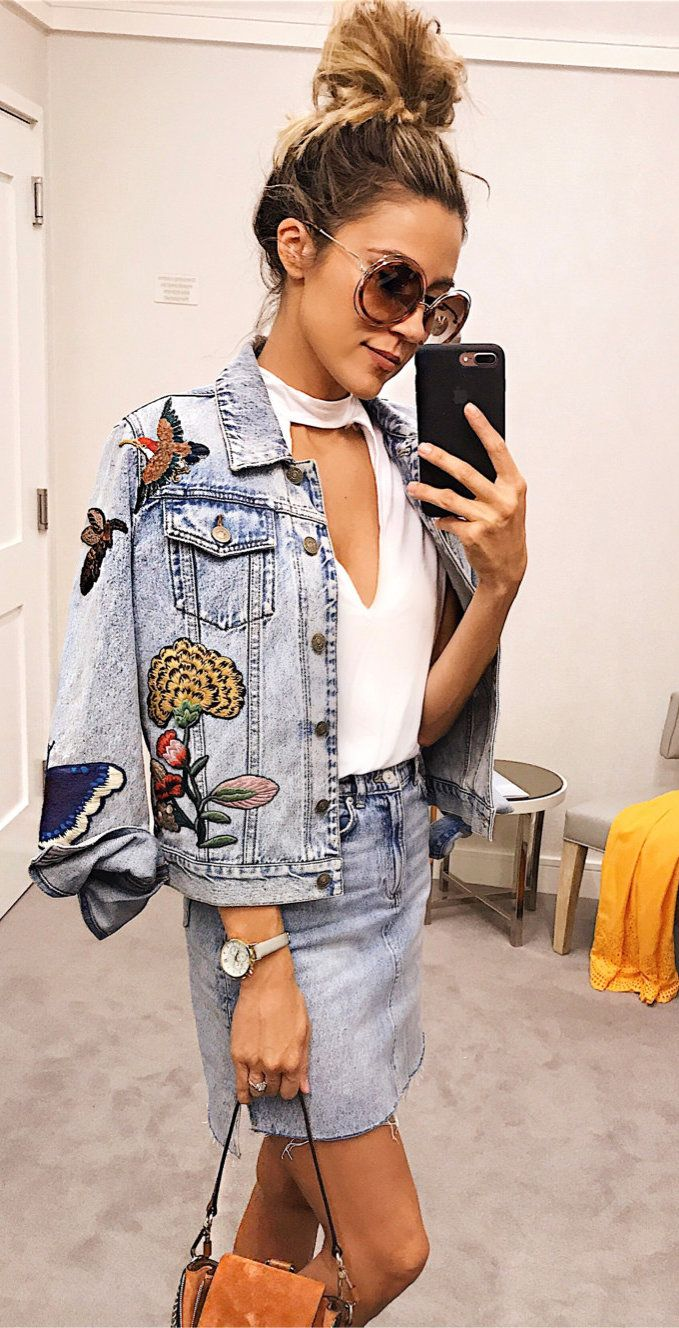 summer outfits Denim On Repeat. This Has Been My Favorite Jacket Since Last Year (it's @gucci And Sold Out So Fast) But Another Brand Just Made An Almost Identical Version For 1/10 The Price!