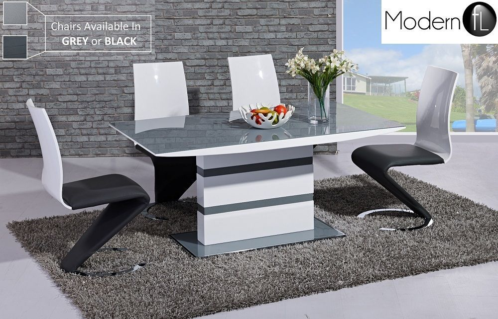 Modern High Gloss Dining Table And 6 Chairs Grey Dining Table And 6 Z Chairs Grey Dining Tables White Gloss Dining Table Unique Dining Tables