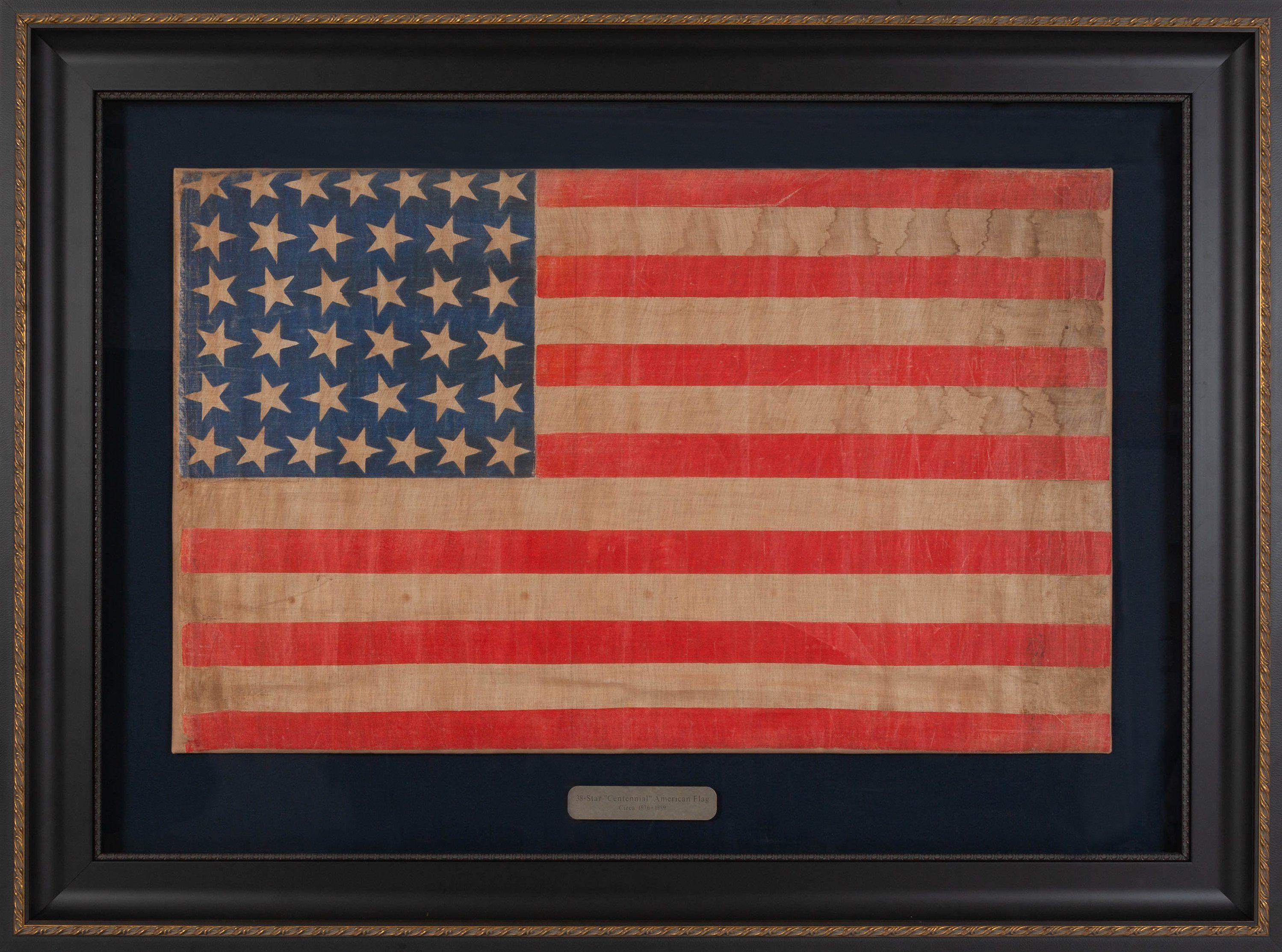 Antique 38 Star Flag Circa 1876 In 2020 Flag American Flag Star Print