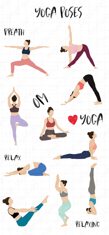 Yoga Poses Digital Sticker Yoga Illustration Yoga Poses Yoga Png