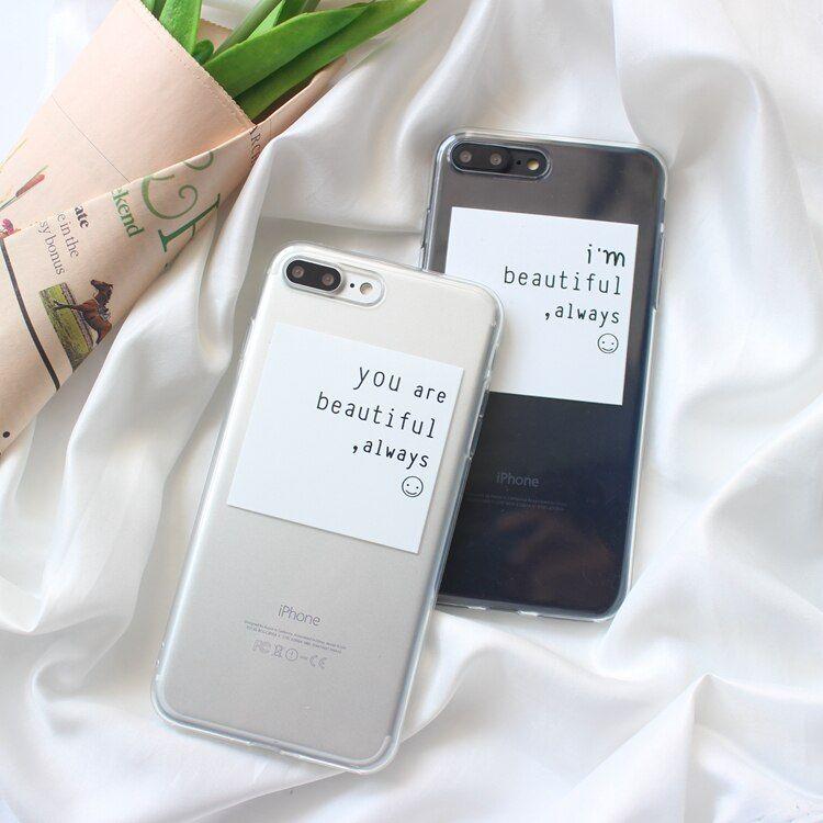 Clear TPU Iphone X 7 7Plus 8 8Plus Simple Quotes Flamingo Painted ...