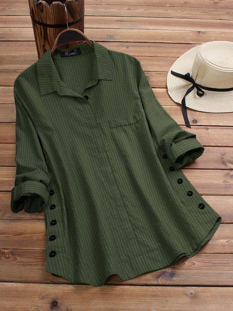 Mens Shirt Plaid Lapel Button Pure Color Vintage Pocket Long Sleeve Top Casual Loose Fashion Blouse