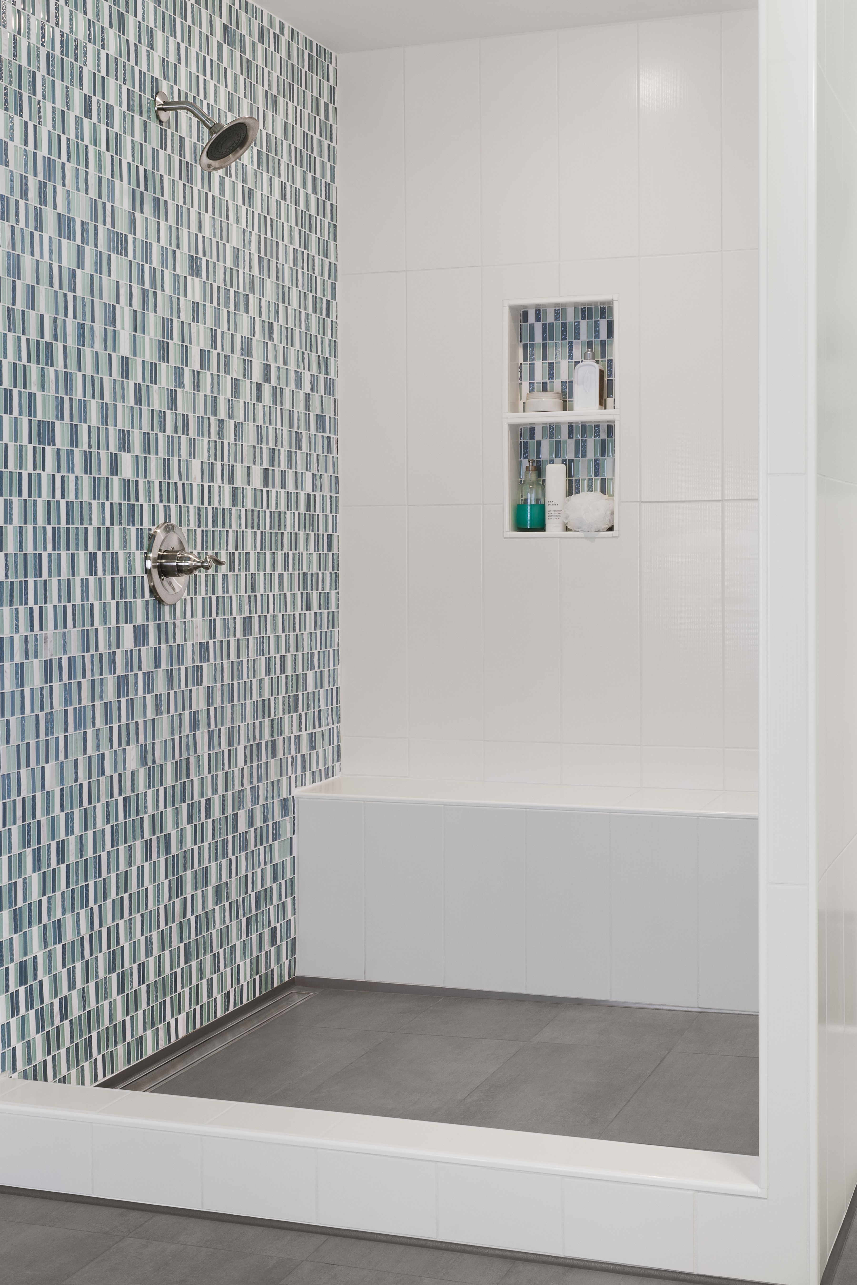 Kerdi shower niche bench  linear drainBlue Lagoon