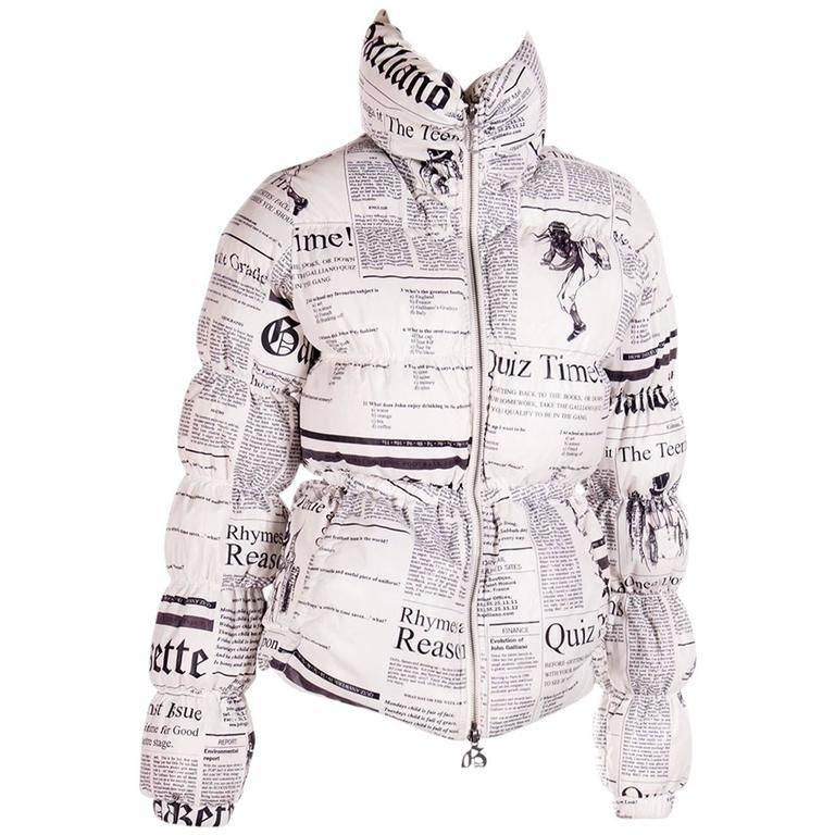 John Galliano Iconic Newspaper Print Puffer Jacket Jackets Jacket Design Fashion
