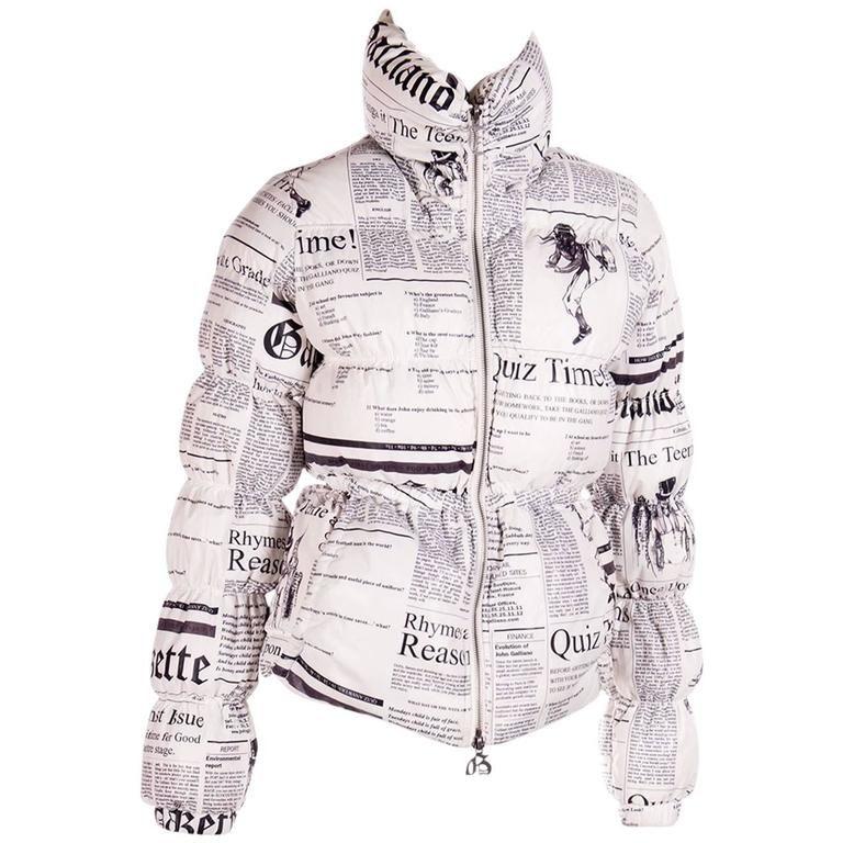 1c8cb9b893 John Galliano Iconic Newspaper Print Puffer Jacket in 2019 | dior ...