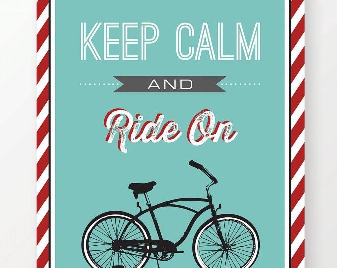 Inspirational quote keep calm and ride on digital art print vintage art