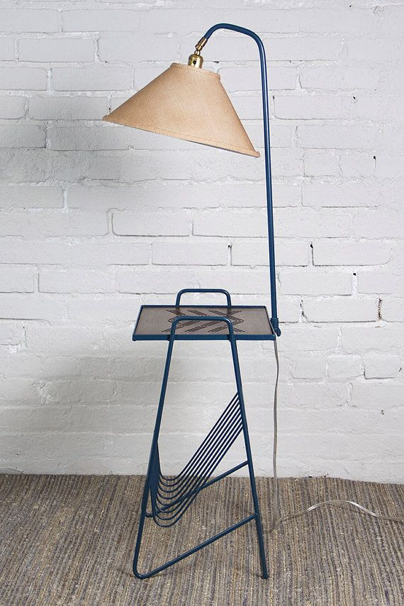 Revived Vintage Metal Side Table And Lamp Combo Magazine By FRUCS