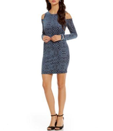 As U Wish Burn Out Velvet Cold Shoulder Dress Dillards A New Year