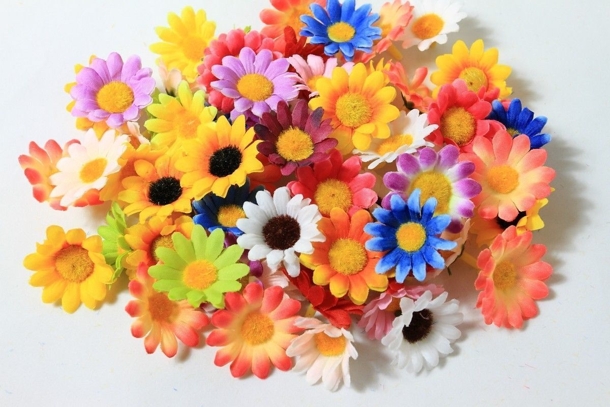 100x Random Colors Daisy Artificial Silk Flower Heads Wholesale Lots