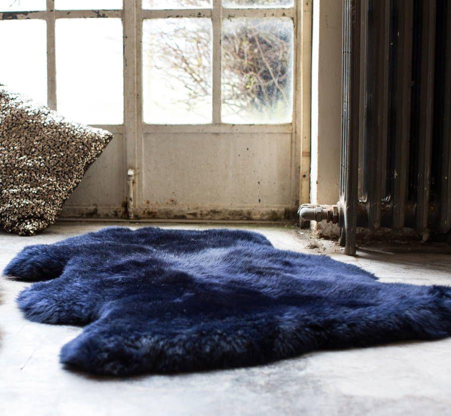A Stunning Devon Midnight Blue Sheepskin Rug Cosy Snuggly And Stylish Ideal