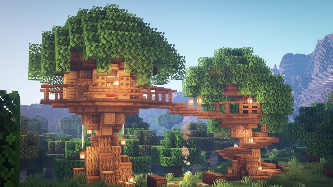 Minecraft: How to Build a Treehouse  Minecraft treehouses, Cute
