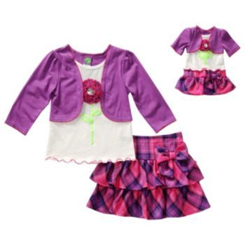 Dollie+&+Me+Mock-Layer+Top+&+Plaid+Skirt+Set+-+Girls+4-14