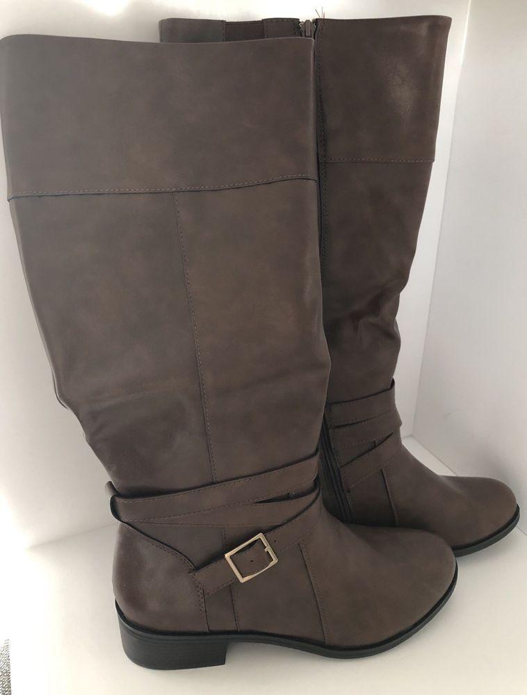 Wide Calf Zipper Boots Womens