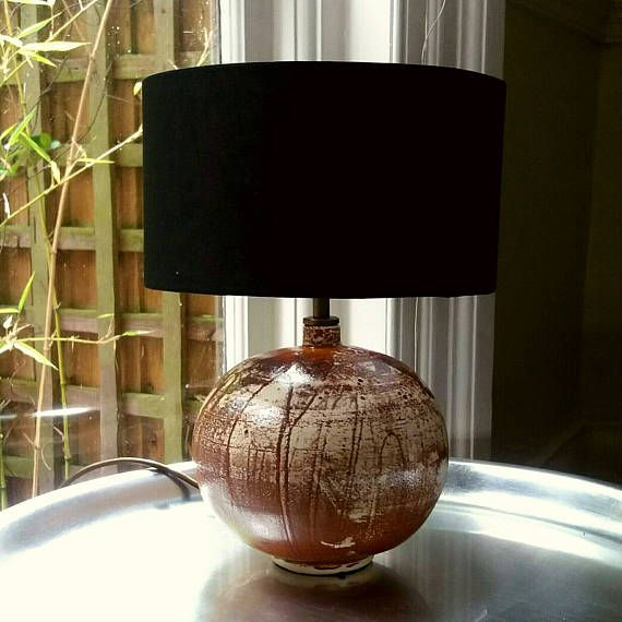 Handmade table lamp base stoneware ceramic rusty red