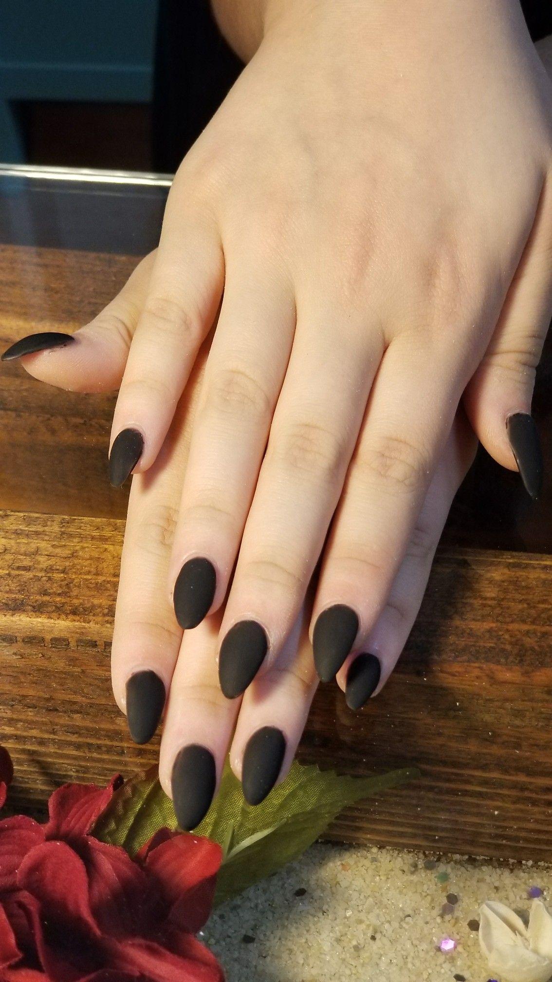 Matte Black Almond Nails | Nails by Caitlin | Pinterest | Black ...