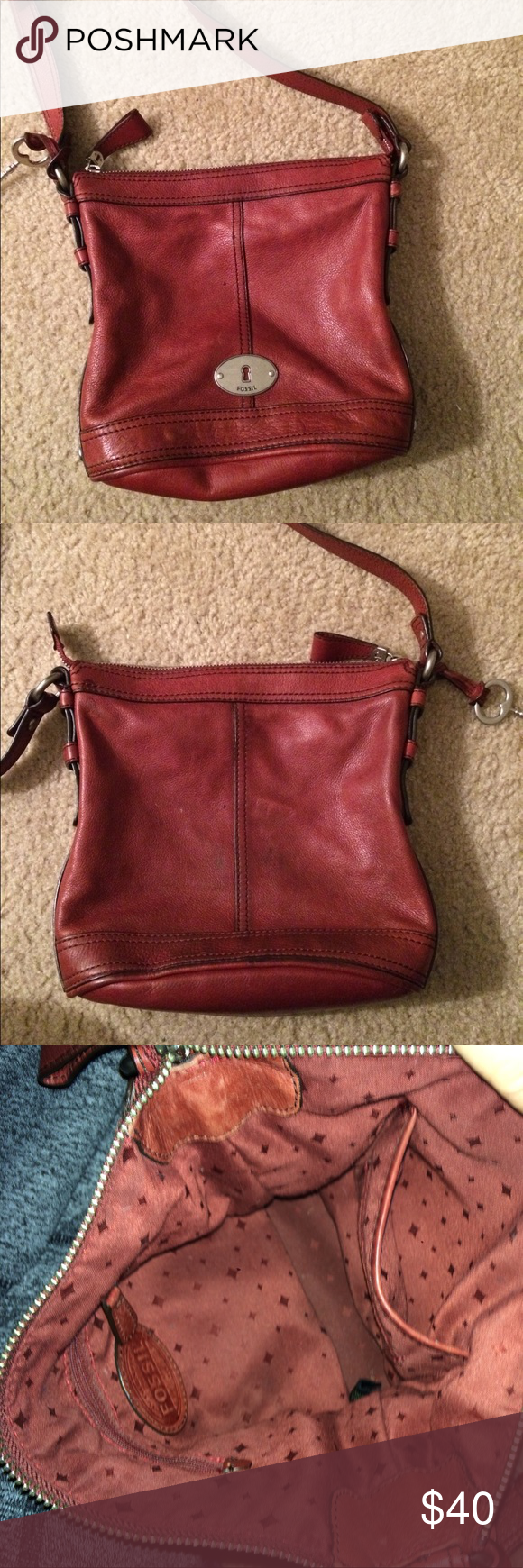 Red/ deep red fossil cross body bucket purse Authentic Fossil. Red cross body, great condition. Leather looks new. Fossil Bags Crossbody Bags