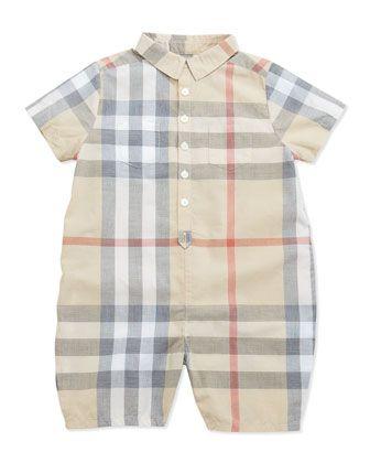 897a8b473820 Infant Boys   Short-Sleeve Check Playsuit