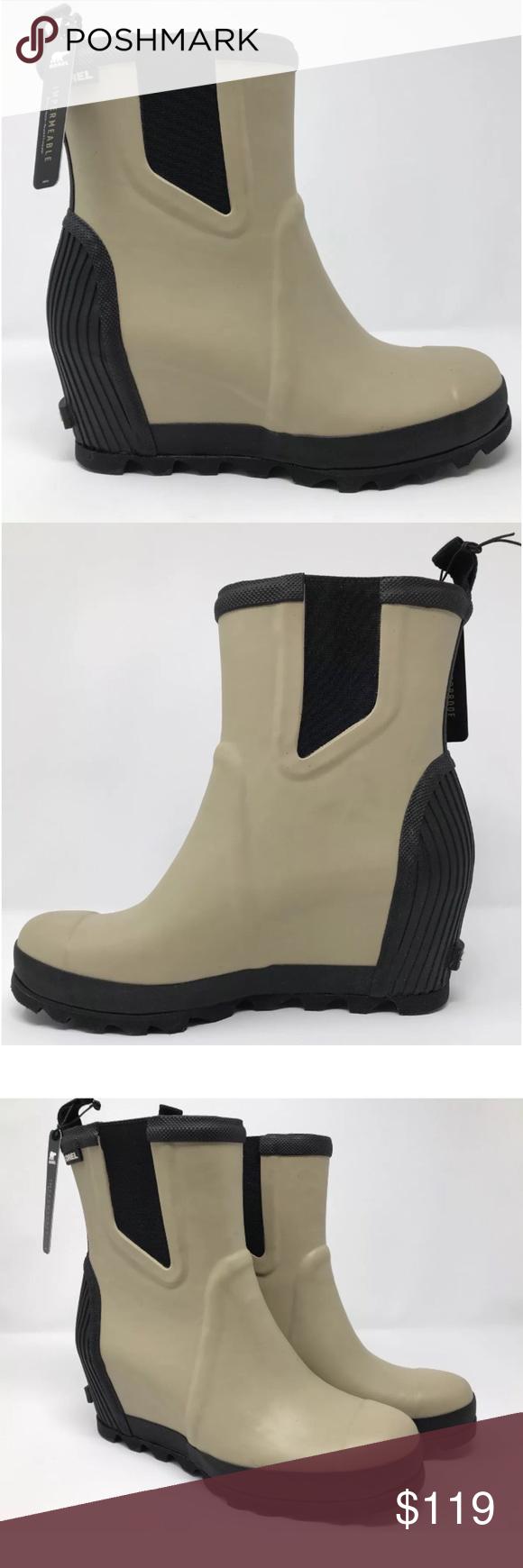 Sorel Joan Rain Wedge Chelsea Boots