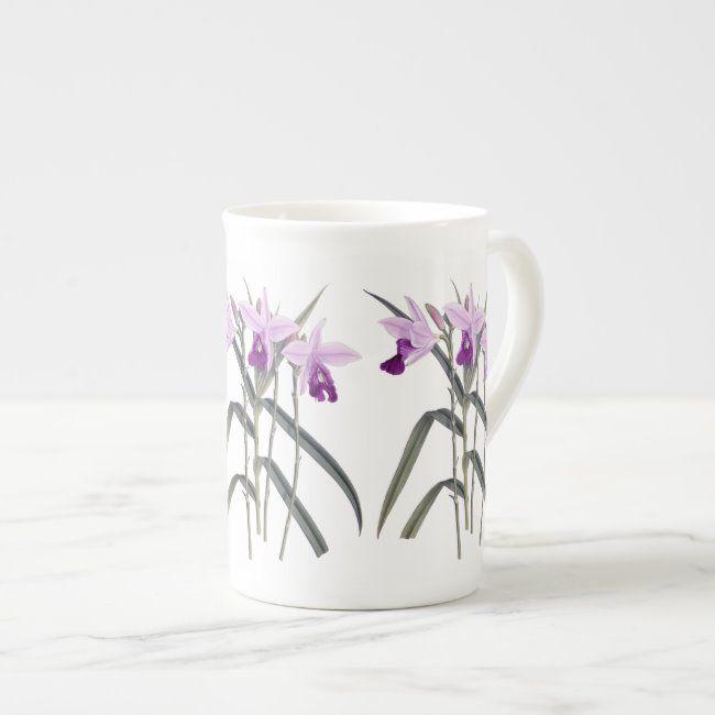 Orchids Floral Botanical Bone China Mug #floral #contemporary #design #botanical #antique#botanical #gifts #gardenstyle #flowers #vintage #floral