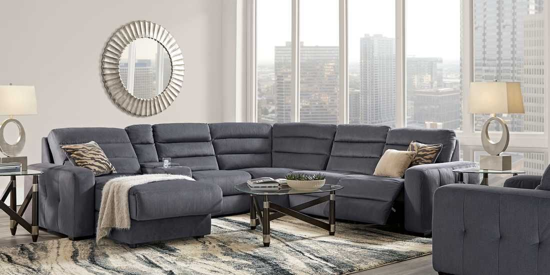 Runyon Canyon Navy 6 Pc Power Reclining Sectional Rooms To Go Living Room Recliner Living Room Sets Reclining Sectional
