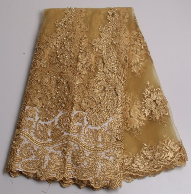 Gold African French Lace Fabric High Quality African Tulle Lace ...