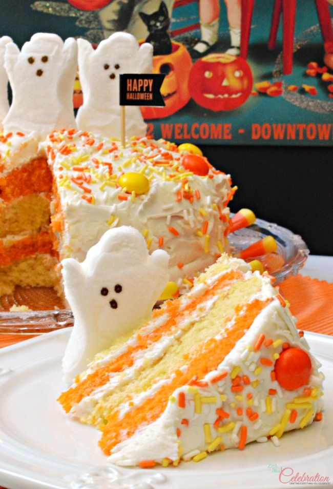 with a cake mix and some candy create a cute halloween cake in a flash at littlemisscelebrationcom