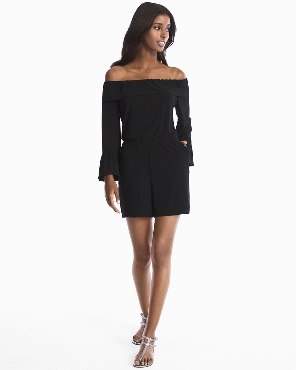 367e22082874 Women s Off-the-Shoulder Black Romper by WHBM