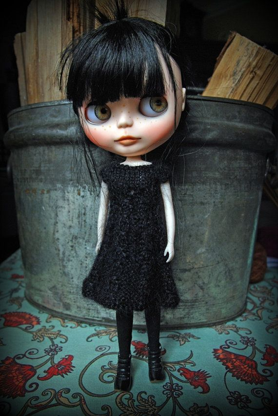 Blythe Doll Knitted Mohair and Wool Dress by AuntieShrews on Etsy