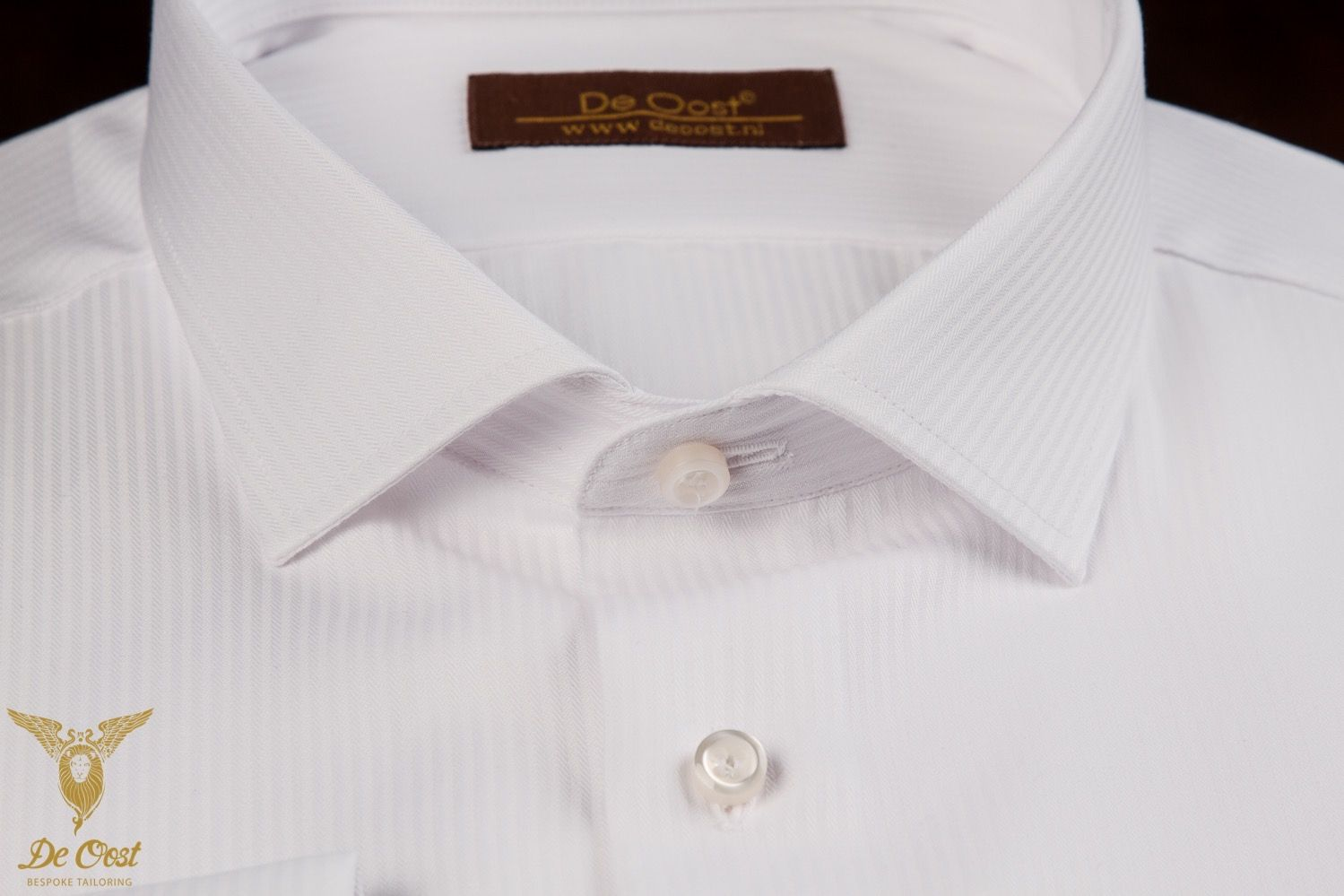 White Bengal Stripe Dress Shirt With Shallow Collar And Double Cuffs