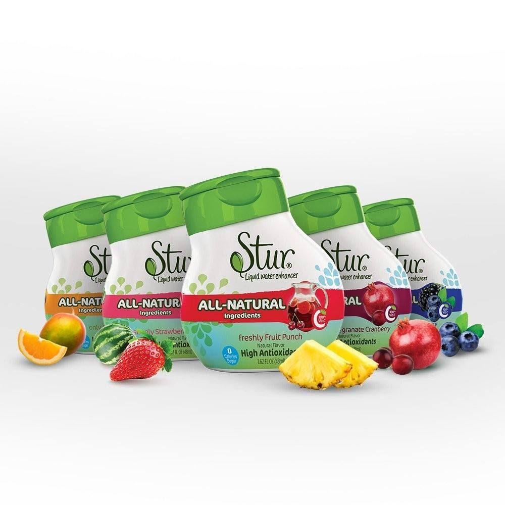 Stur All Natural Stevia Liquid Water Enhancer 6 Fruit Flavors Water Enhancer Stevia Flavored Water