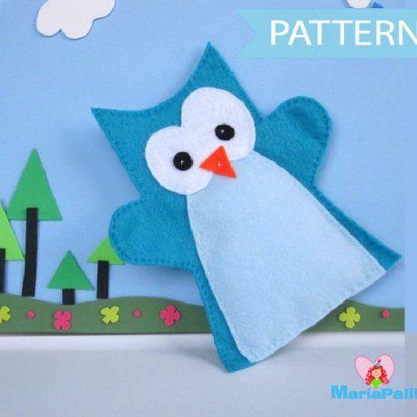 Owl Hand Puppet Pattern , Felt Hand Puppet Pattern A508 | Pinterest