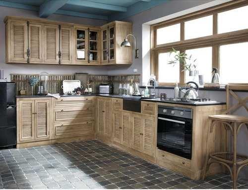Cuisine bois style persiennes cuisines en 2018 pinterest cuisine bois meuble bas cuisine - Meuble cuisine independant bois ...