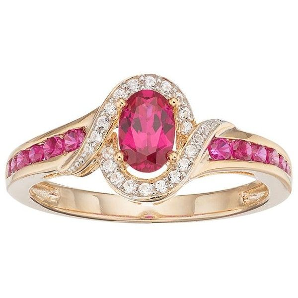 10k Gold Ruby & Diamond Accent Oval Halo Ring ($875) ❤ liked on Polyvore