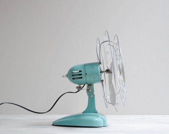 Vintage Oscillating Eskimo Desk Fan in Aqua by LittleDogVintage, $69.00