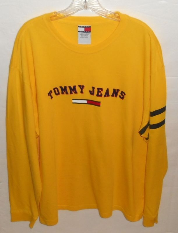 b17909f7 Vintage Tommy Hilfiger Yellow Long Sleeve Men's XL T-Shirt #TommyHilfiger  #GraphicTee