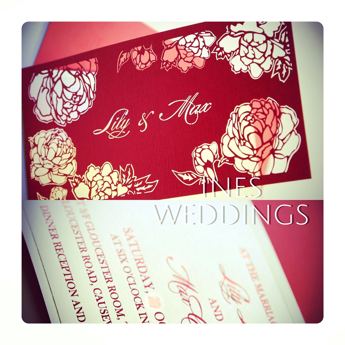 Gorgeous peonies laser cutting invitations with Chinese red foil ...
