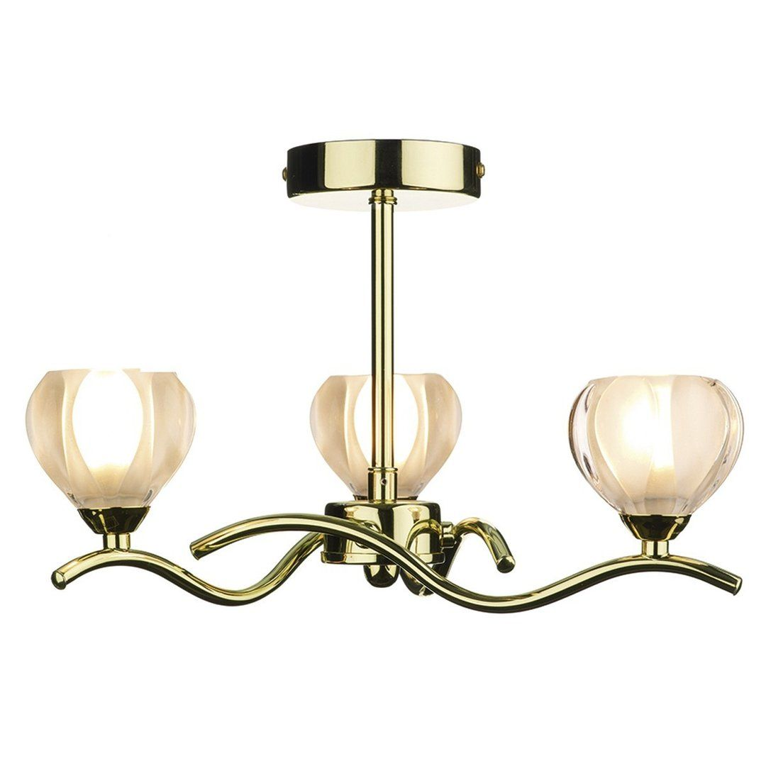 Polished Brass 3 arm SemiFlush Gold ceiling light