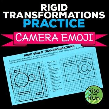 Rigid Transformations Practice Emoji Activity Free By Rise Over Run Transformations Math Education Math 8th Grade Math